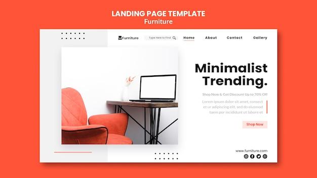 Landing page template for minimalist furniture designs Premium Psd