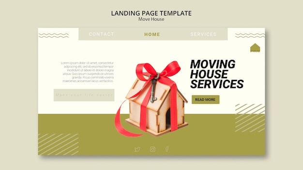Landing page template for moving house services Free Psd