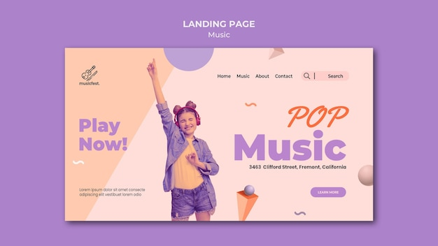 Landing page template for music with woman using headphones and dancing Premium Psd