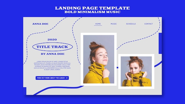 Landing page templatefor musician Free Psd