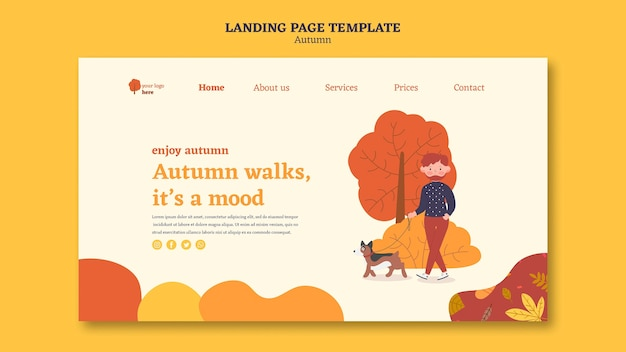Landing page template for outdoors autumn activities Free Psd