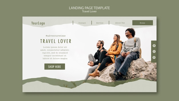Landing page template for outdoors traveling Free Psd