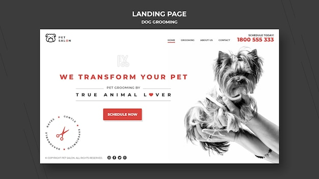 Landing page template for pet grooming company Premium Psd