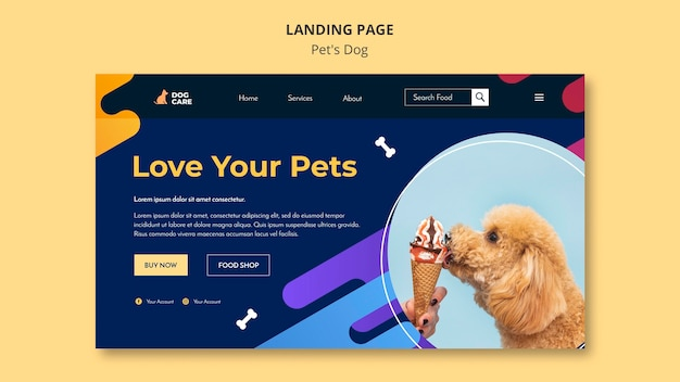 Landing page template for pet shop business Free Psd