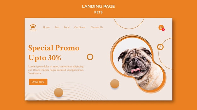 Landing page template for pet shop with dog Premium Psd