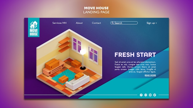 Landing page template for residence relocation services Free Psd