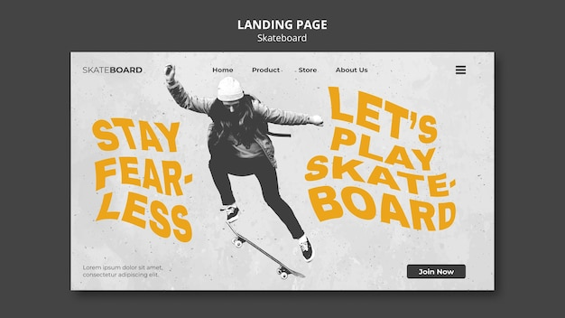 Landing page template for skateboarding with woman Free Psd