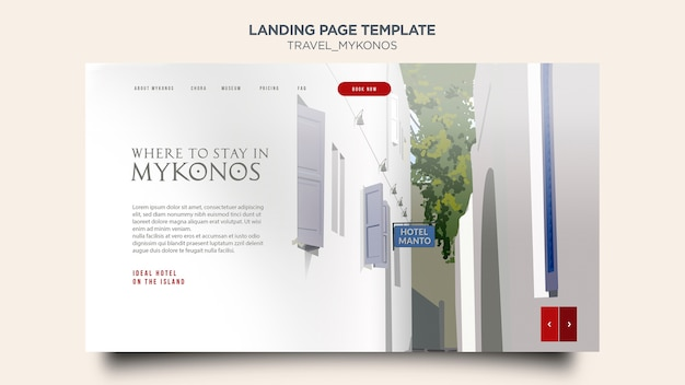 Landing page template travel mykonos Free Psd