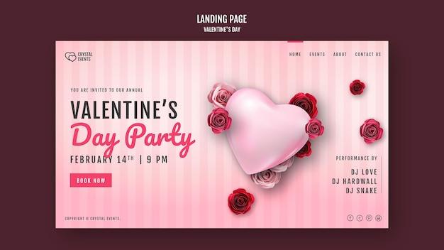 Modello di pagina di destinazione per san valentino con cuore e rose rosse Psd Gratuite