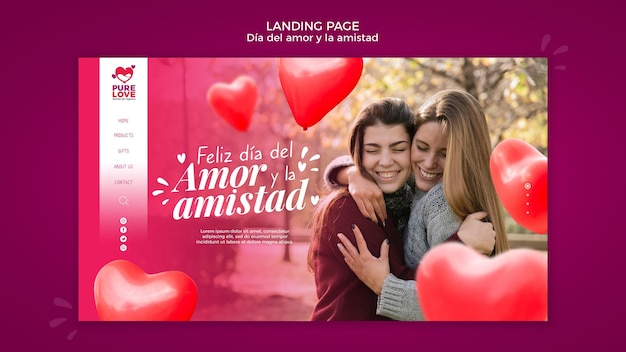 Landing page template for valentines day celebration Free Psd