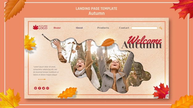 Landing page template for welcoming autumn season Free Psd