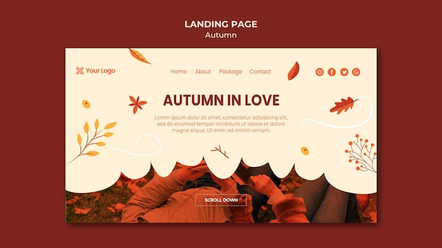Landing page template for welcoming the autumnal season Free Psd