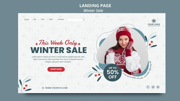 Landing page template for winter sale Premium Psd