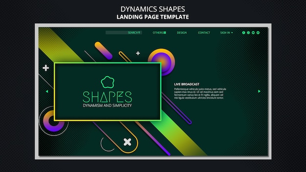 Landing page template with dynamic geometric neon shapes Free Psd