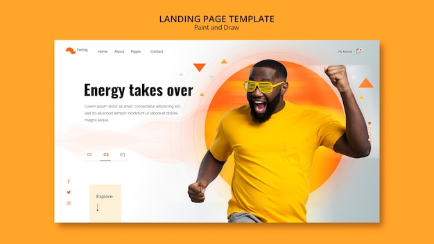 Landing page template with pain and draw Free Psd