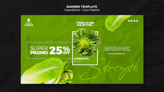 Landing page template with spinach Free Psd