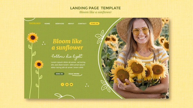 Landing page template with sunflowers and woman Premium Psd