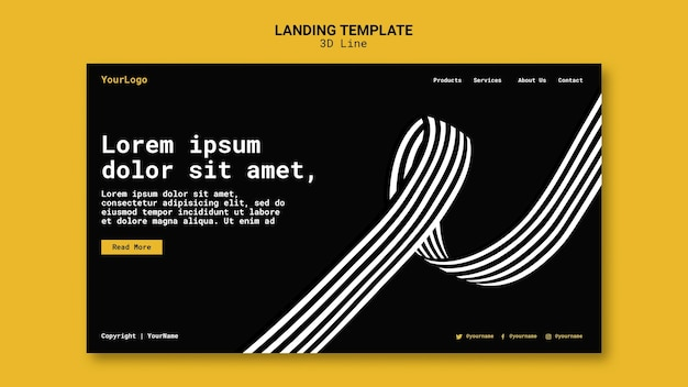 Landing page template with three-dimensional lines Premium Psd