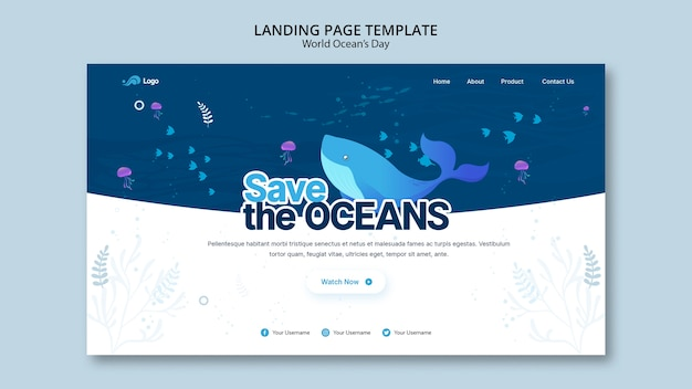 Landing page template with world ocean day concept Free Psd