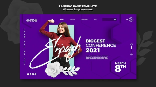 Landing page template for women empowerment with encouraging word Free Psd