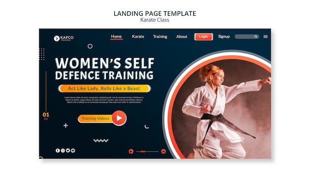 Modello di pagina di destinazione per le lezioni di karate femminile Psd Gratuite