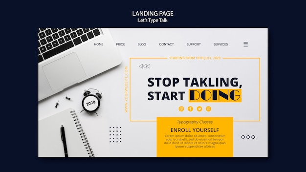 Landing page template for work productivity Free Psd