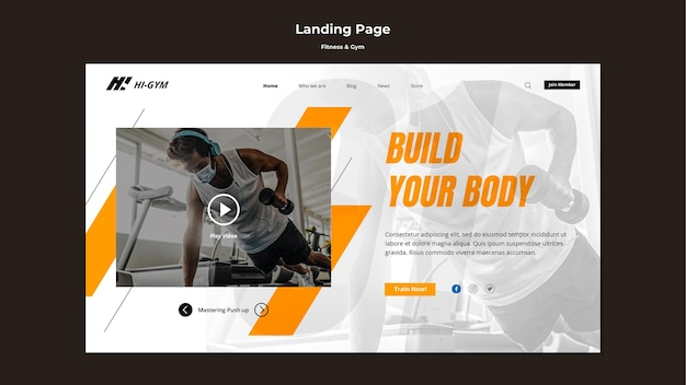 Landing page template for working out at the gym during the pandemic Premium Psd