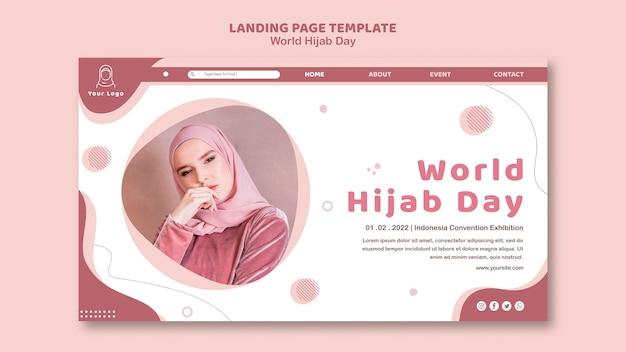 Modello di pagina di destinazione per la celebrazione della giornata mondiale dell'hijab Psd Gratuite