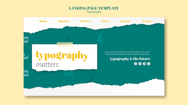 Landing page typography service template Free Psd
