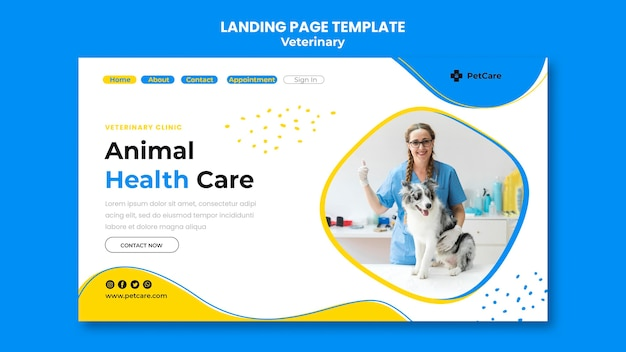 Landing page veterinary clinic template Free Psd