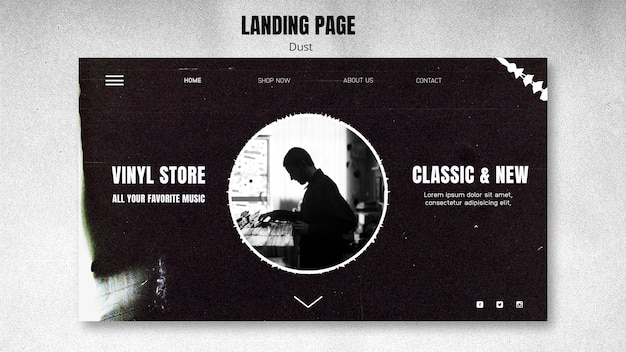Landing page vinyl store template Free Psd