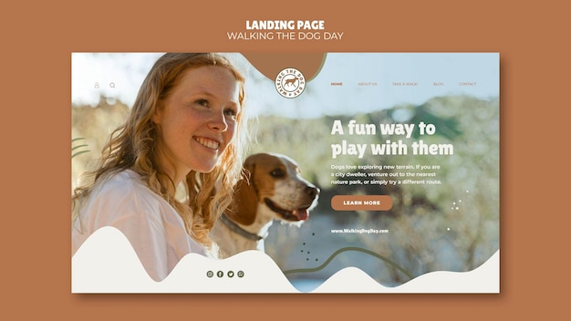 Pagina di destinazione che cammina con il modello del dog day Psd Gratuite