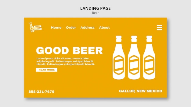 Landing page web template for beer Free Psd