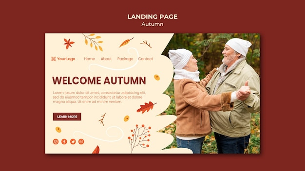 Landing page for welcoming the autumnal season Free Psd
