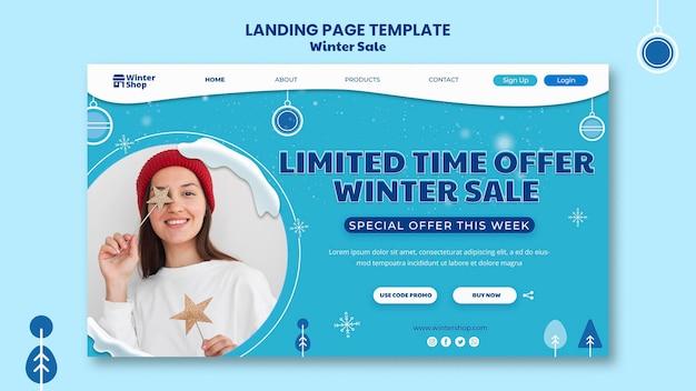 Pagina di destinazione per la vendita invernale Psd Gratuite