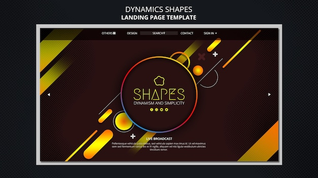 Landing page with dynamic geometric neon shapes Free Psd