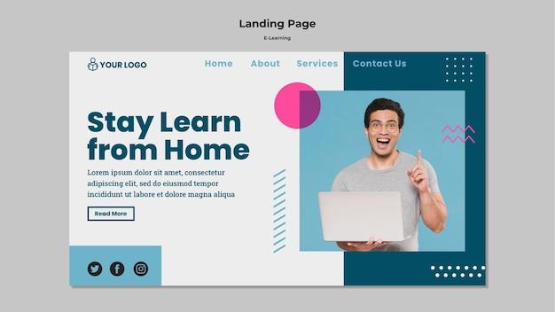 Целевая страница с концепцией электронного обучения Бесплатные Psd