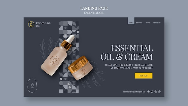 Landing page with essential oil cosmetics Premium Psd