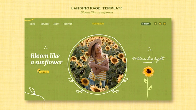 Landing page with sunflowers and woman Premium Psd