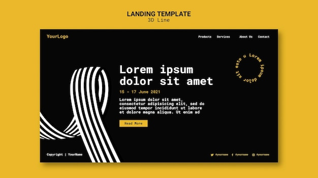 Landing page with three-dimensional lines Free Psd