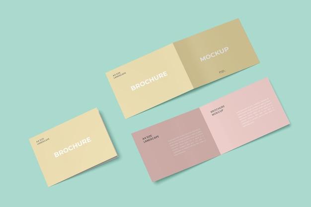 ランドスケープ二つ折りパンフレットモックアップ Premium Psd