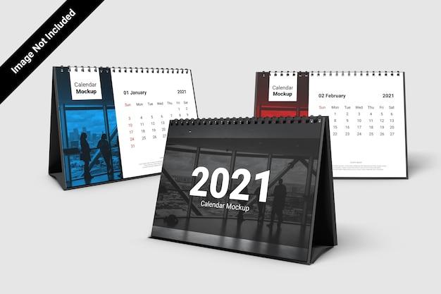 Макет календаря пейзаж со спиралью Premium Psd