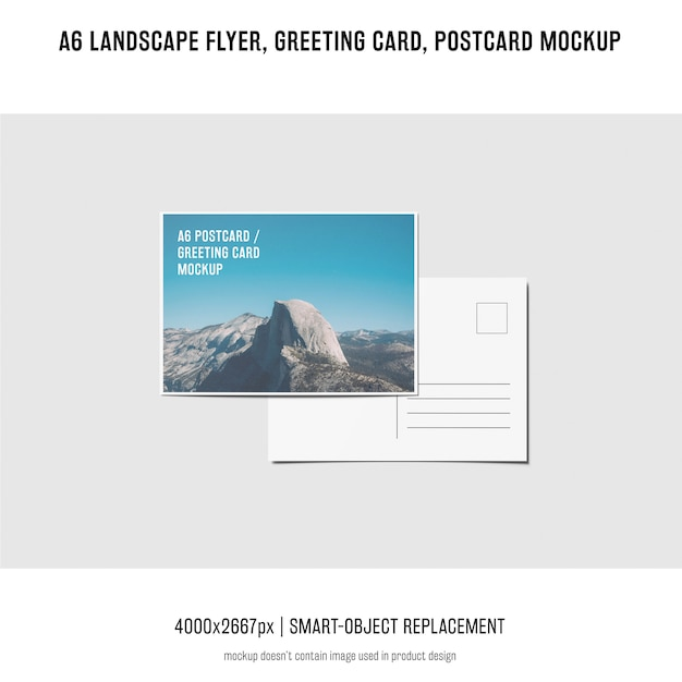 Landscape flyer, postcard, greeting card mockup Free Psd
