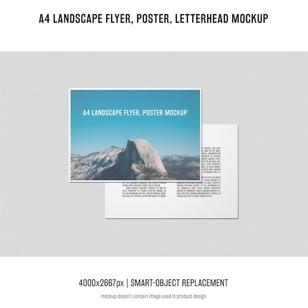 Landscape flyer, poster, letterhead mockup Free Psd