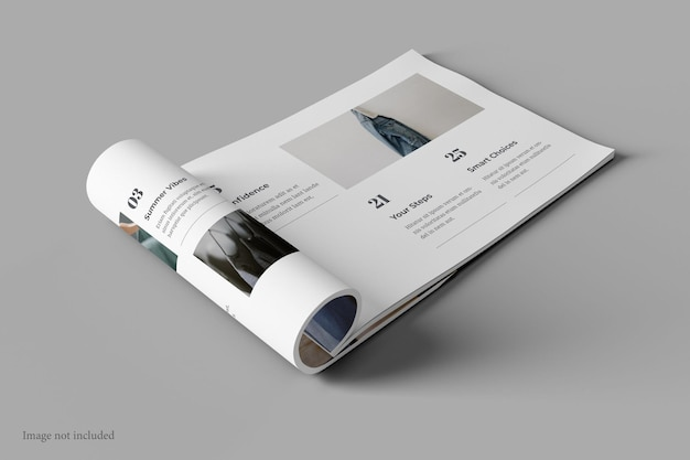 Landscape magazine and book mockup perspective view Premium Psd