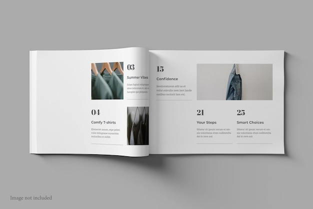 Landscape magazine and book mockup top view Premium Psd