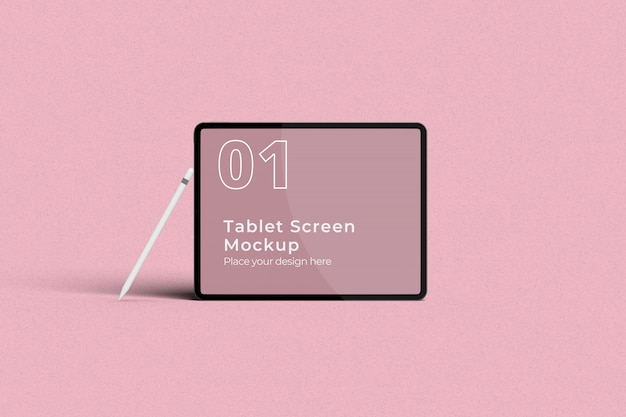 Landscape tablet screen mockup with pencil front view Premium Psd