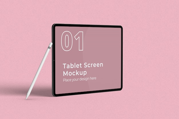 Landscape tablet screen mockup with pencil left view Premium Psd