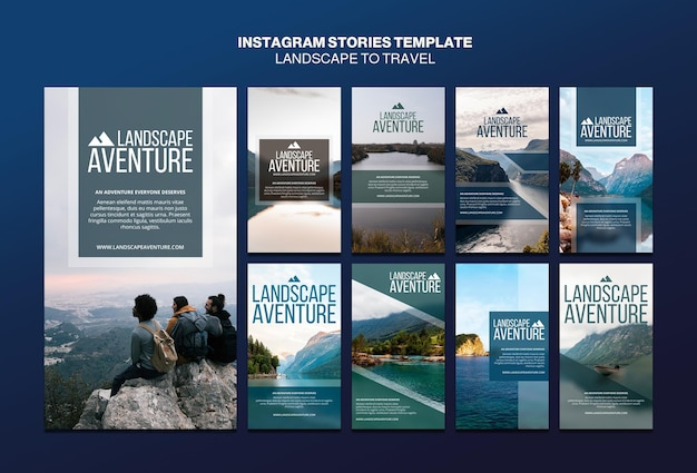 Landscape for travel concept instagram stories template Free Psd