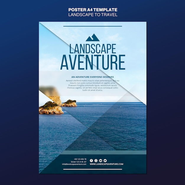 Landscape for travel concept poster template Free Psd
